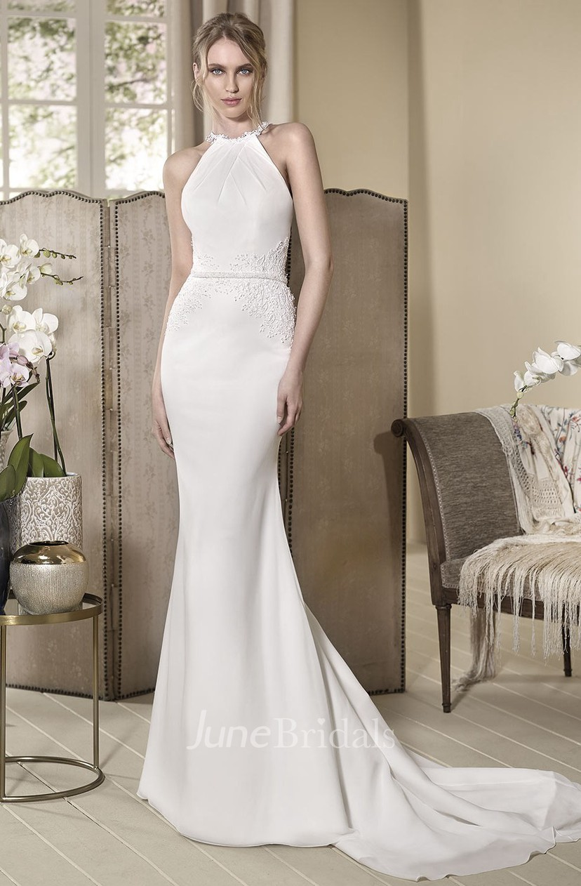 Sheath High Neck Long Sleeveless Appliqued Wedding Dress With Beading