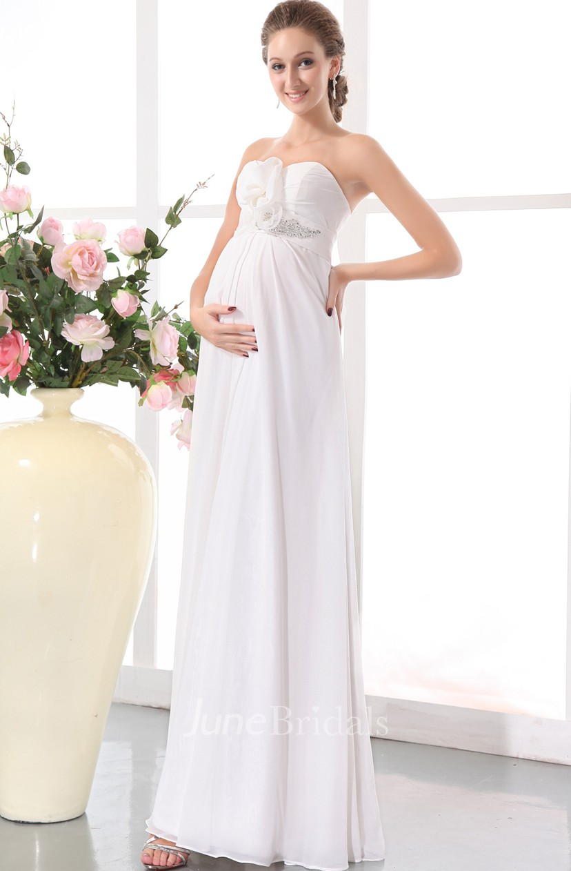 Sweetheart Sleeveless Fl Soft Flowing Fabric Empire Maternity Wedding Dress With D