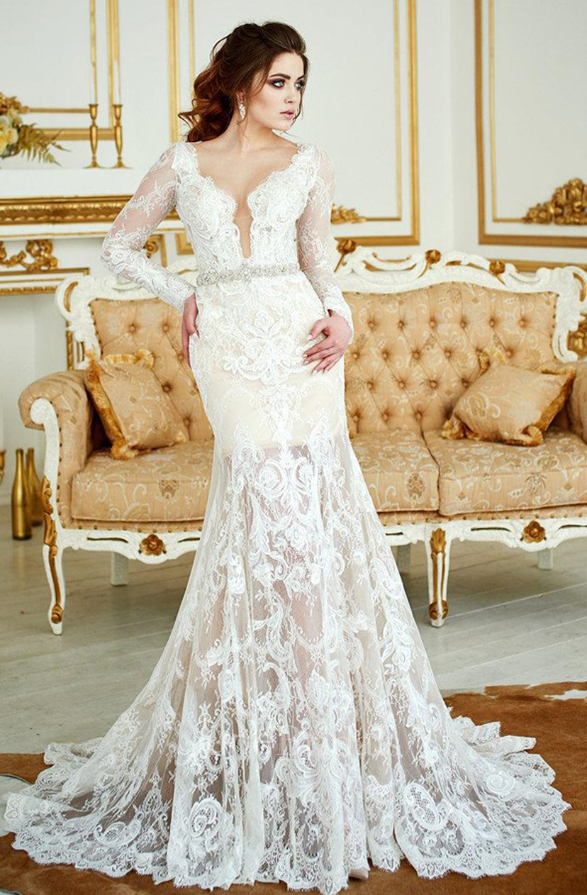 Deep V Neck Lace Illusion Long Sleeve Mermaid Beaded Wedding Dress With Skirt