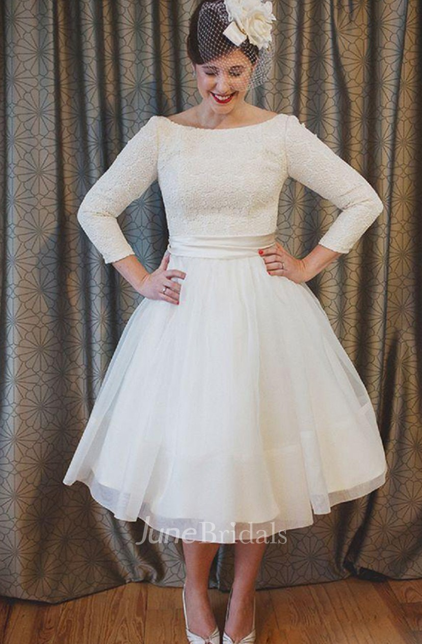 Plus Size Tea Length Lace and Organza Wedding Dresses with 3-4 Long Sleeves