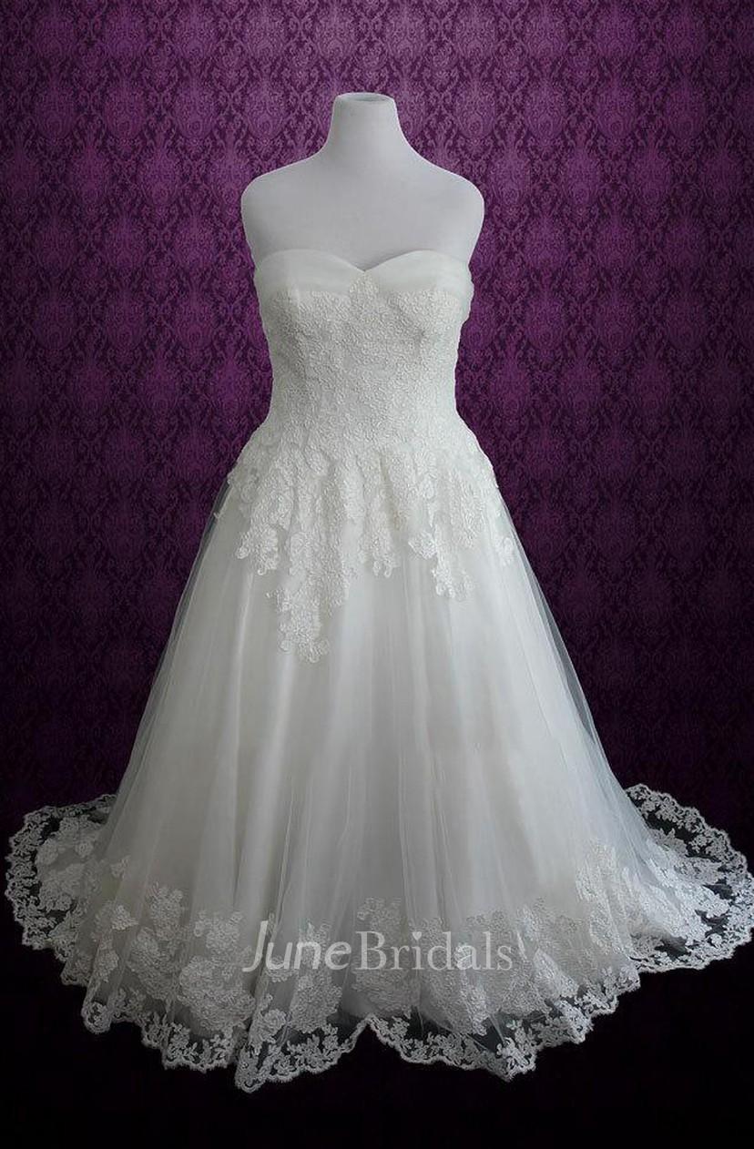 Plus Size Strapless Lace Princess A Line Lace Fairy Tale Disney Dress