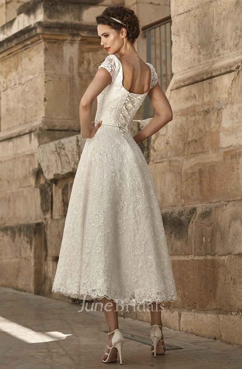 A Line Appliqued Short Sleeve Square Neck Tea Length Lace Wedding Dress