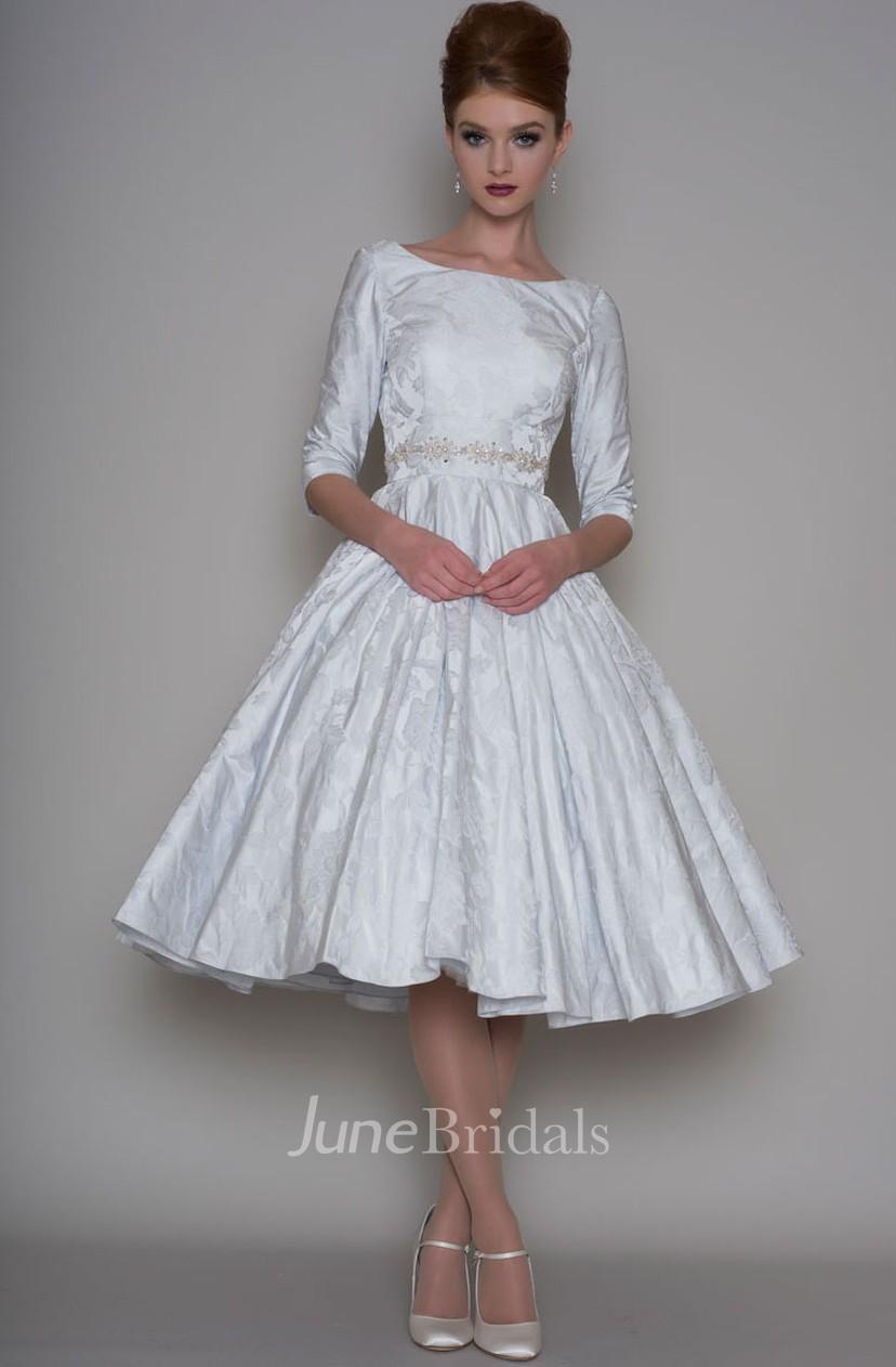 A Line Tea Length 3 4 Sleeve Bateau Neck Jeweled Satin Wedding Dress