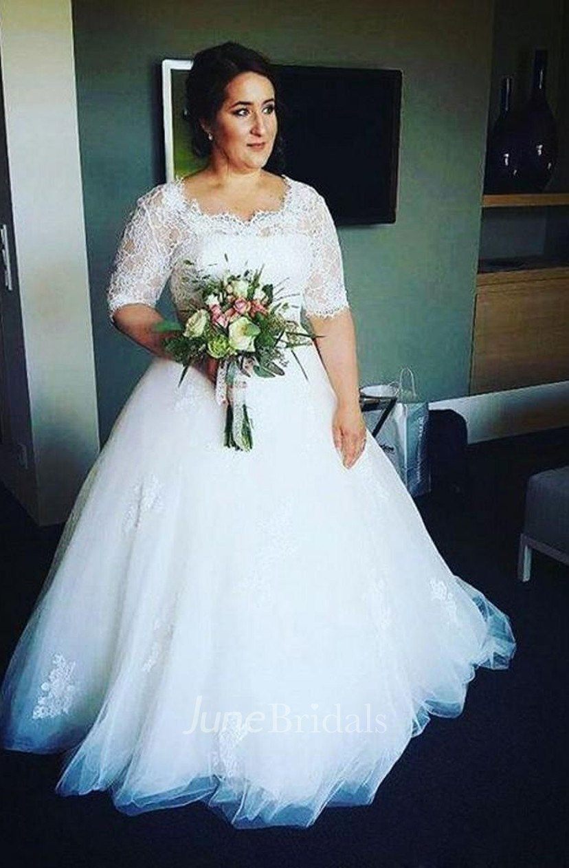 Half Sleeves Lace Bodice Appliques Tulle Fluffy Skirt Plus Size Wedding  Dress