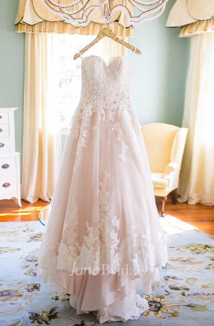 Elegant Sweetheart High Low Blush Wedding Dress With White Lace