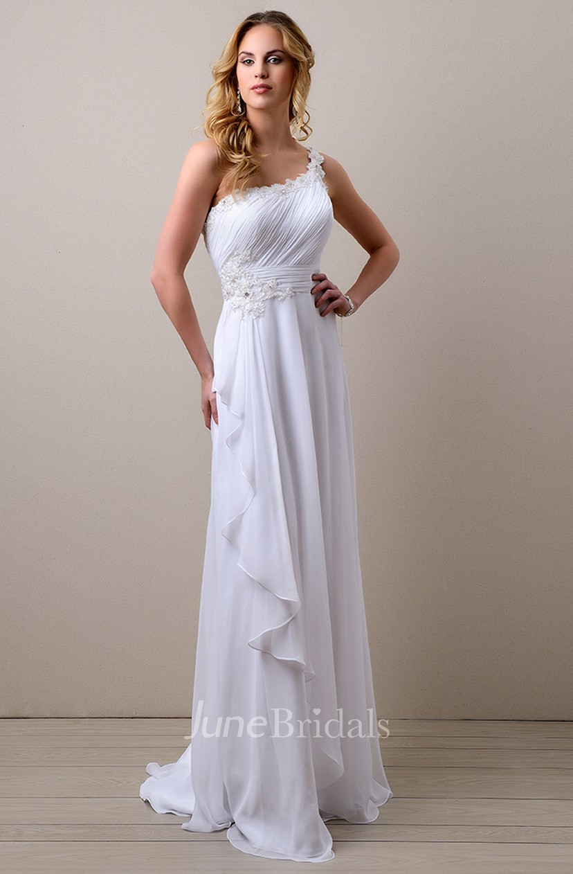 Side Draping A Line Chiffon Wedding Dress With One Shoulder And