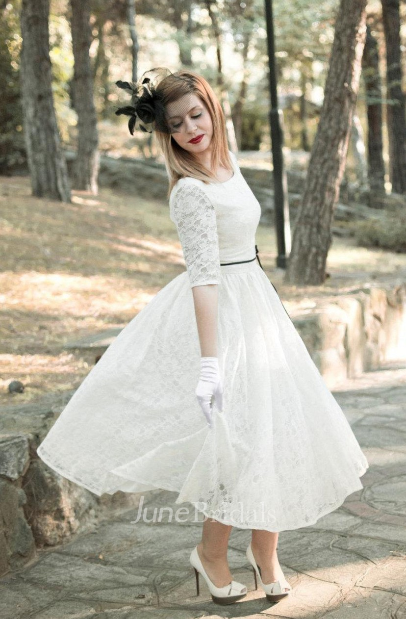 Jewel Tea Length Lace Wedding Dress With Sash And Half Illusion Sleeve
