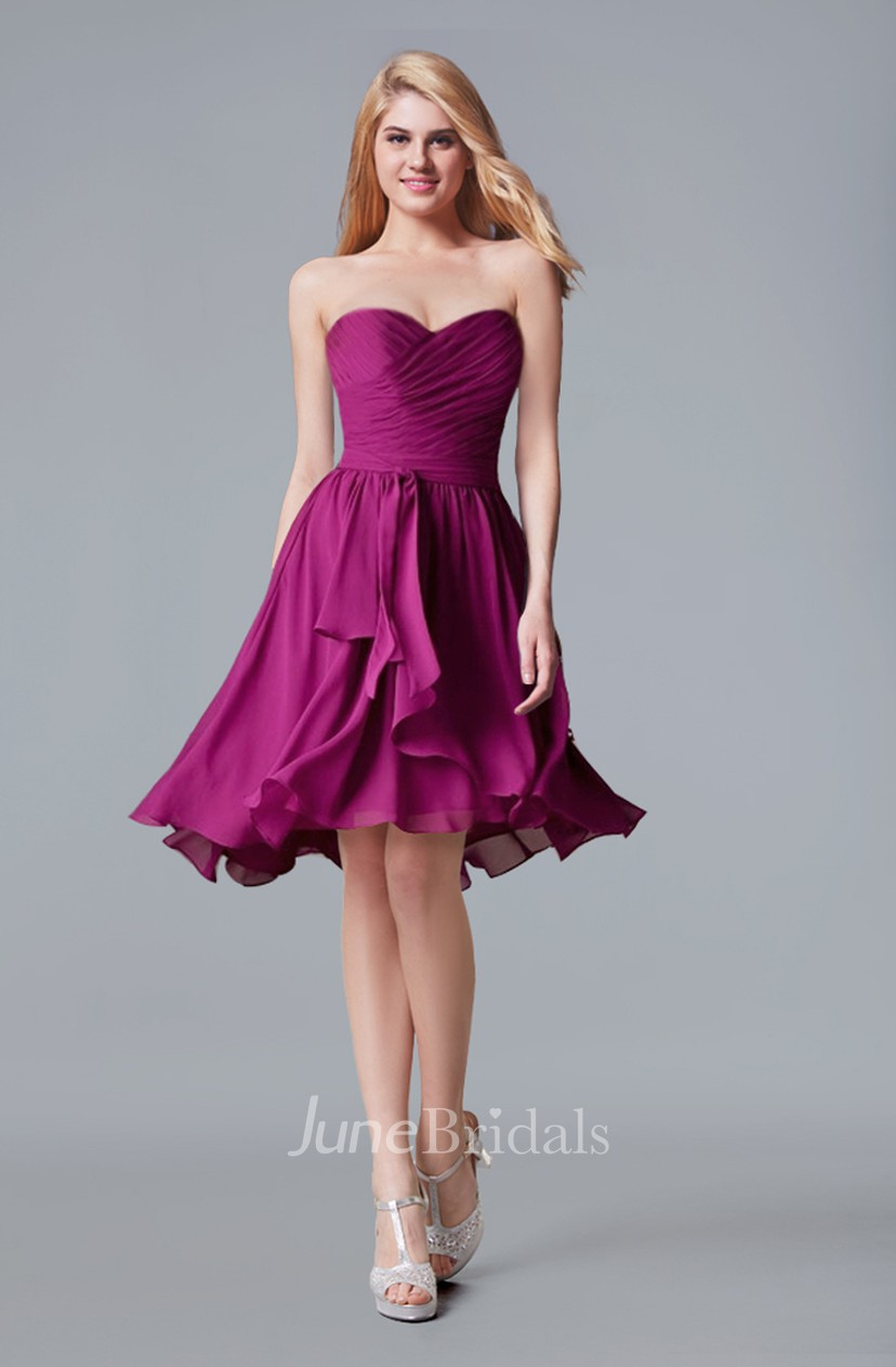 Purple Chiffon Sweetheart a Line Dress