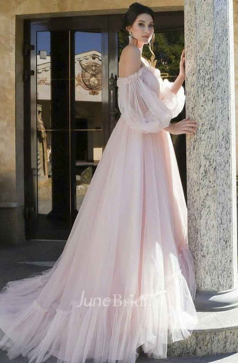 Charming Blush//Pink 3D Floral Wedding Dress A Line Sweetheart Tulle Bridal Gown