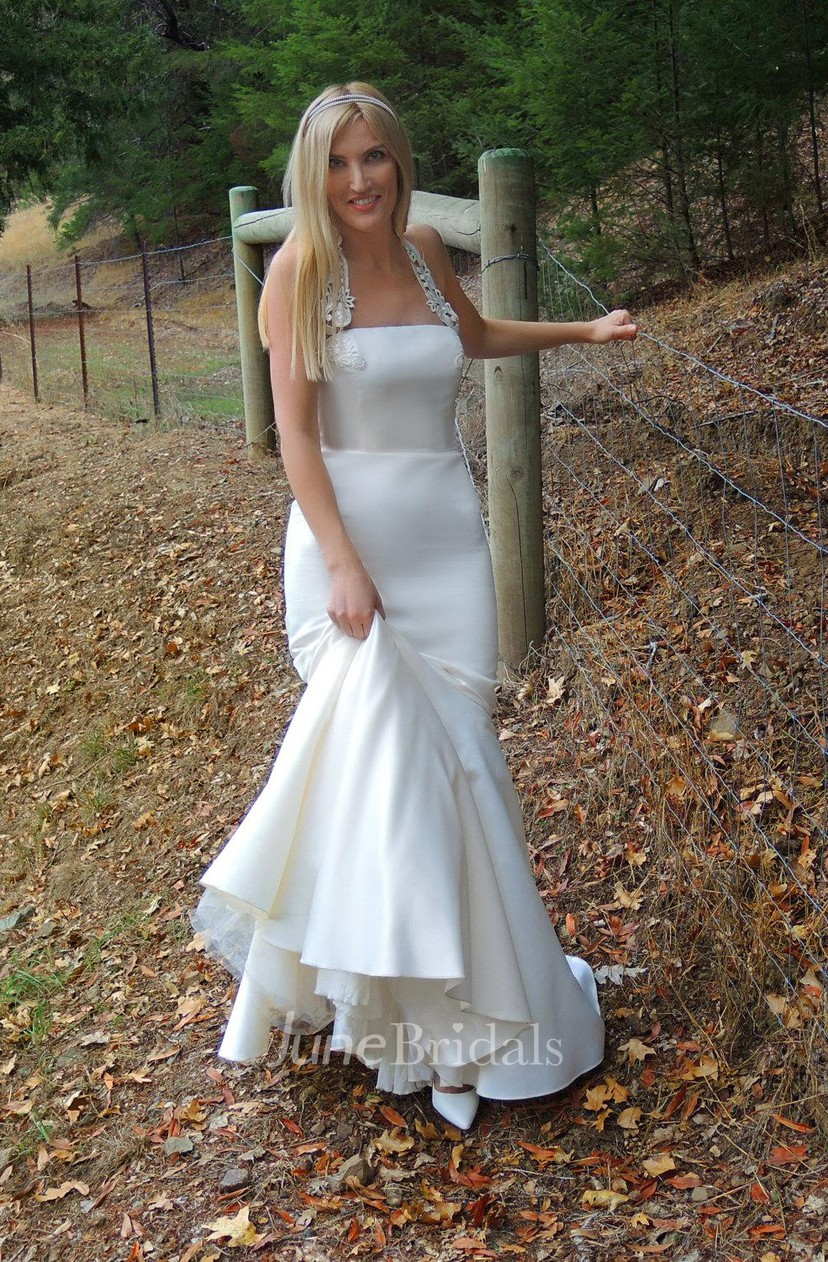Halter Neck Satin Mermaid Wedding Dress With Embridering