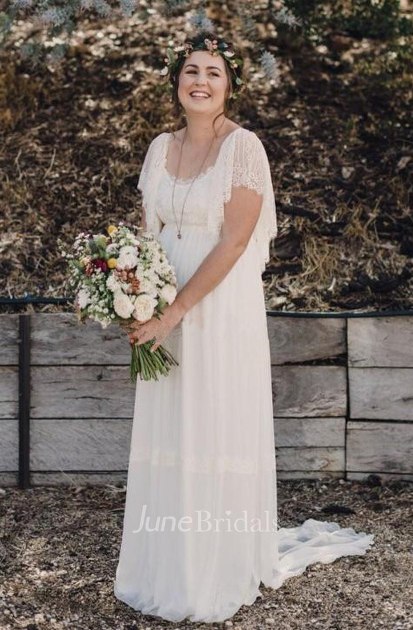 Bohemian Plus Size Lace Short Sleeves Scoop Open Back Wedding Dress