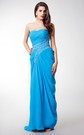 Elegant Sleeveless Draped Chiffon Gown With Crystal-detailing