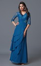 Long Sleeve V Neck Chiffon Mother of the Bride Dress
