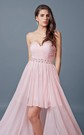 Sweetheart High Low Chiffon Prom Dress with Beaded Waist