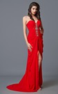 Sweetheart Draped Long Chiffon Dress With Beading and Side Slit