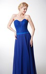 Fantastic Sleeveless Chiffon Gown With Satin Belt