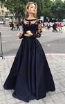 Ball Gown Long Sleeves Bateau Satin Floor-Length Dresses