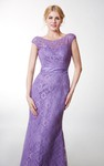 Vintage Short Sleeve Bateau Neck Long Lace Dress With Satin Belt