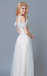 A-line Ruched Empire Waist Long Tulle Dress With Draping