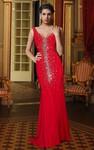 Sleeveless V Neck Jersey Long Dress With Beading