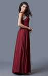Sleeveless Cut-out Neck A-line Chiffon Gown With Sequins