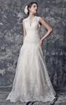 Glamorous Cap Sleeve A-line Long Lace Wedding Dress With Keyhole
